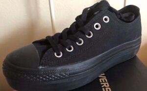defa8fd8592 New Womens Converse All Star Lo Platform Sneaker Black Mono Womens ...