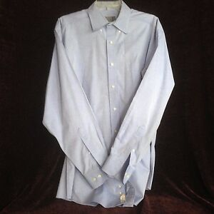 Talbots-Mens-16-34-35-Blue-Long-Sleeve-Wrinkle-Resistant-Dress-Shirt
