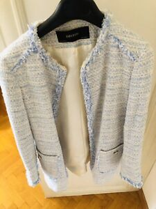 ZARA-WOMAN-NAVY-BLUE-TWEED-FRAYED-EMBELLISHED-BLAZER-COAT-JACKET-M-Netaporter