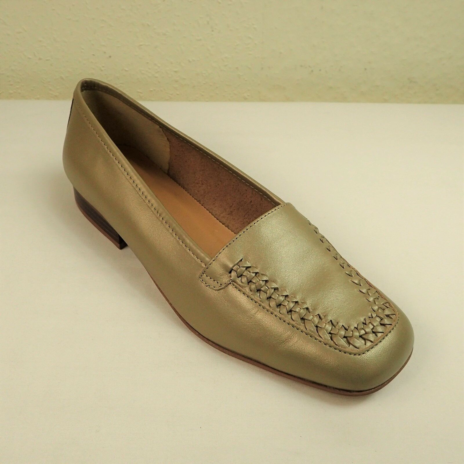 Clarks Clarks Clarks Hispaniol Sz UK 6 EU 39.5 Leather Flat Slip On Loafers shoes Metallic gold d2588e