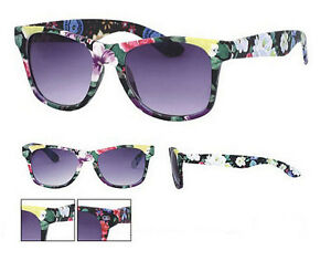New-Black-Floral-Frame-Wayfarer-Sunglasses-Dark-Lens-80s-Retro-Pipel-UV400-NWT