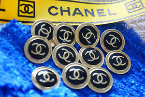 100-Authentic-Chanel-Buttons-10-pieces-logo-cc-gold-black-XL