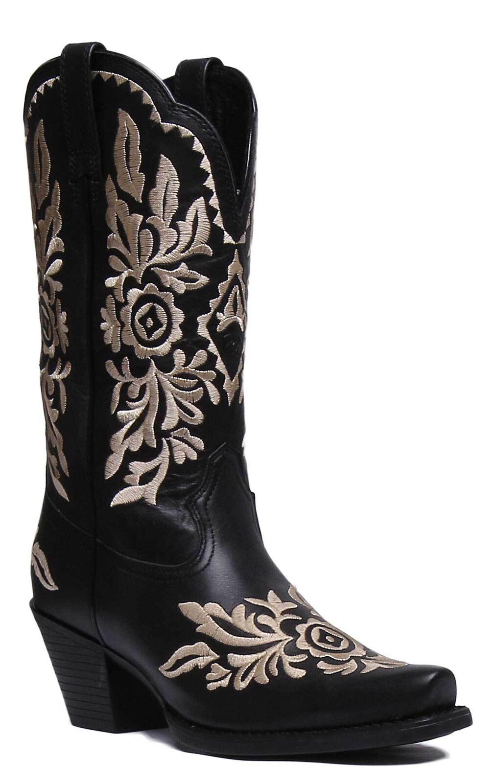 Ariat Harper Mujer de Cuero Negro botas botas Negro occidental Limousin tamaño de Reino Unido 3 - 8 0fa125