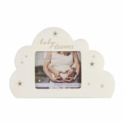 "Bambino Cloud Shape Baby Shower Photo Frame 3/"" x 2.5/"" Stars Icons CG1369"