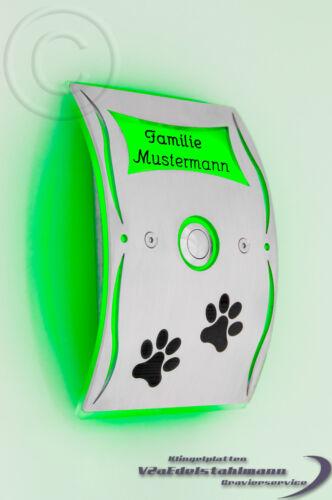 sonnerie plaque sonnette sonnette virent blanc Acier inoxydable LED gravure possible.