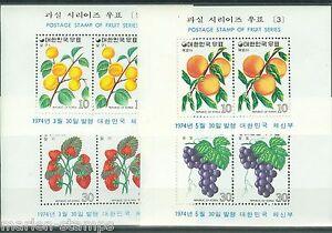 KOREA FRUIT S/S SCOTT#893A/98A MINT NEVER HINGED ORIGINAL GUM