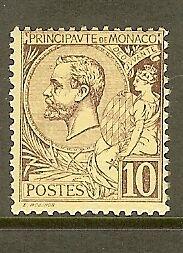 MONACO-STAMP-TIMBRE-N-14-034-PRINCE-ALBERT-1er-10c-LILAS-BRUN-SUR-JAUNE-034-NEUF-xx-TB