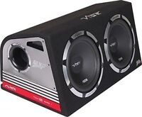 """Vibe Slick Twin 12"""" Active Subwoofers Subs and Box 2400w Built in Amplifier"""