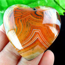 """BEAUTIFUL"" BROWN WITH TRACES OF GREEN ONYX AGATE ""HEART"" BEAD PENDANT 1053"