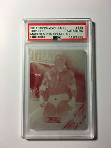 Triple-H-2016-Topps-WWE-Then-Now-Forever-149-Magenta-Printing-Plate-PSA-HHH-WWF