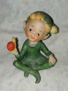 Vintage-Pixie-Elf-Gnome-Sprite-Leprechaun-Figurine-943-Porcelain-Bisque