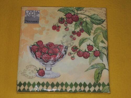20 Servietten Himbeeren 1 Packung OVP Motivservietten Beeren raspberry Schrift N