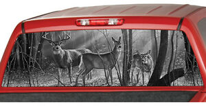 DEER FAMILY BW Window Graphic Tint Decal Sticker Truck Jeep SUV - Rear window hunting decals for trucksdeers in a forrest bw window graphic tint decal sticker truck