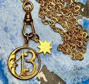 Gold-crescent-Moon-Choker-Necklace-Lucky-13-charm-delicate-chain-chatelaine-LUCK