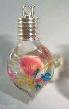 Handmade Custom made name on rice glass heart vial pendant ring Great gift item