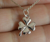 Irish Shamrock Necklace 925 Sterling Silver Four Leaf Clover Lucky Charmnecklace