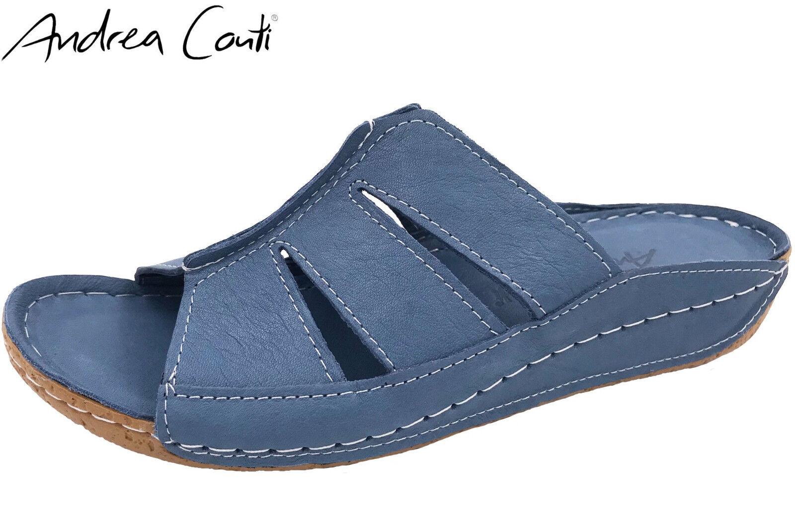 Andrea Conti Damen Pantolette offen Blau Leder Sommer Clogs 0773416 NEU