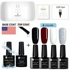 Details About 7pcs Set Pop Colors Uv Gel Glitter Gel Nail Polish Base Top Coat