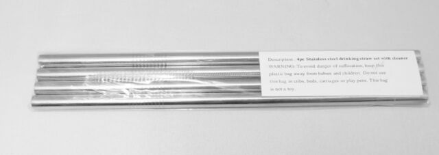 4 STAINLESS STEEL DRINKING STRAWS 1 CLEANER BRUSH REUSABLE STRAIGHT #102185
