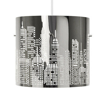 Modern Silver Chrome New York Skyline Ceiling Light Fitting Lamp Shade Lampshade