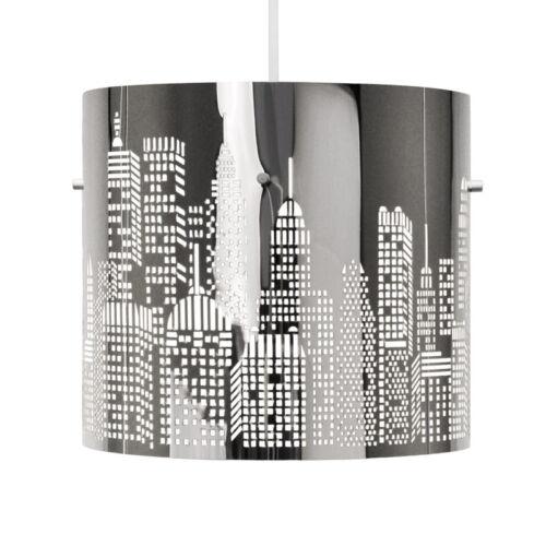 Modern Silver Chrome New York Skyline Ceiling Light Fitting Lamp Shade Lampshade