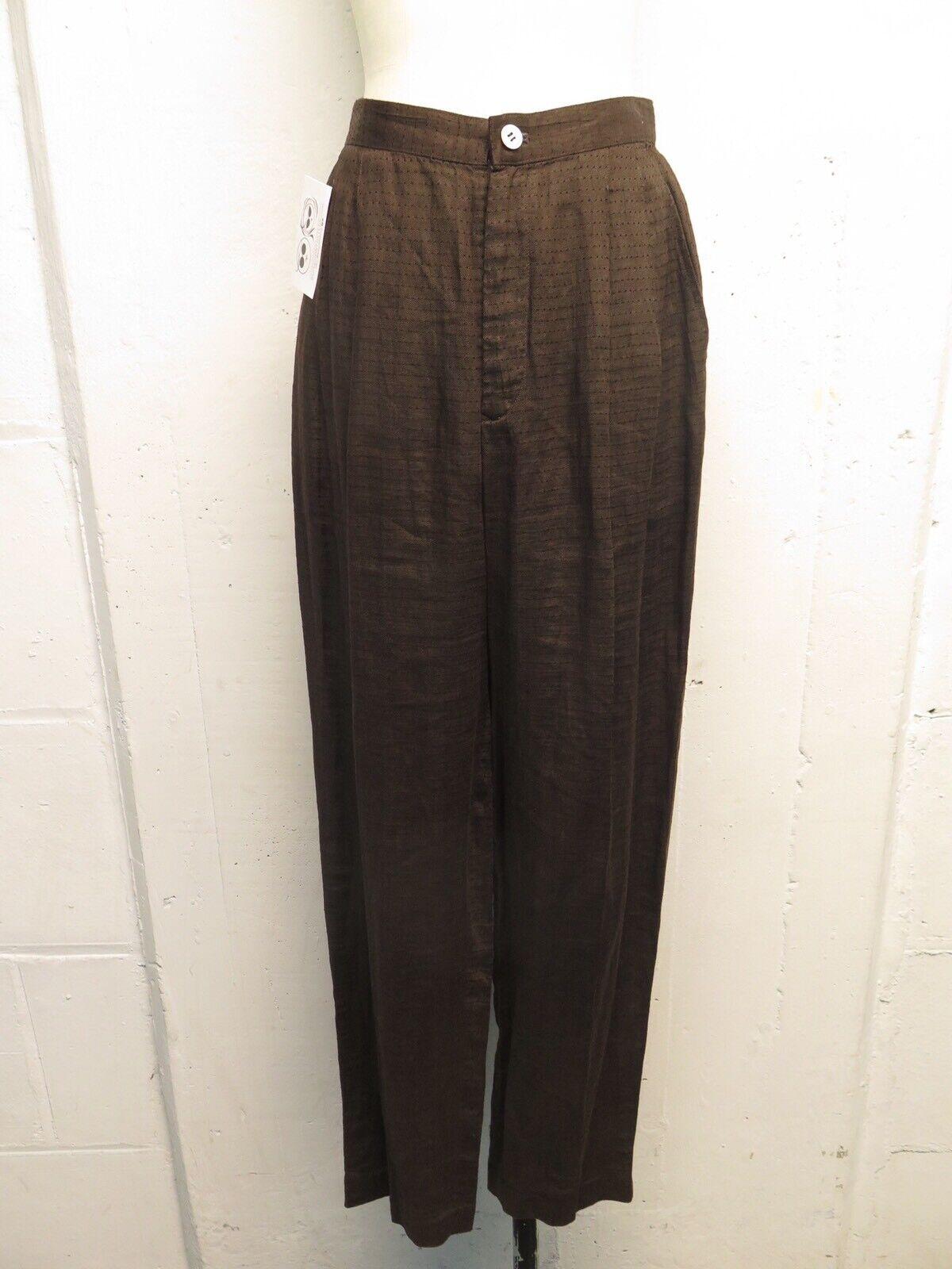 Issey Miyake Permanente braun Linen High Waisted Pants Sz M