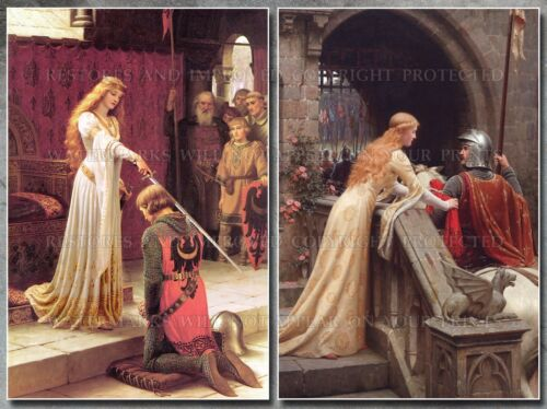 Leighton 20x30 art prints lot Accolade God Speed medieval knight chivalry queen