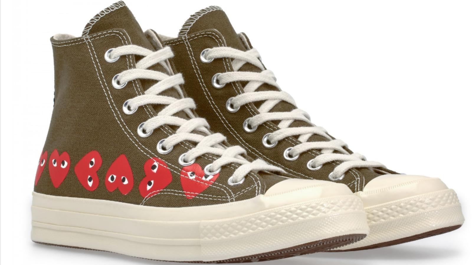 Converse x Comme des Garcons Chuck Taylor'70 Hi multi cœur Kaki Chaussures 4-12