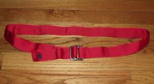 NWT Brooks Brothers Double D-Ring Ribbon Belt Red Golden Fleece Logo Grosgrain