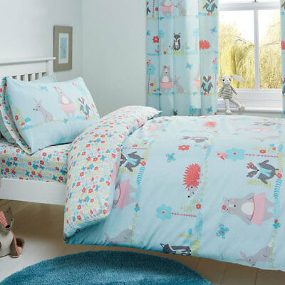 Bedlam Woodland Fox Print Reversible Duvet Cover Bedroom Collection Duck Egg
