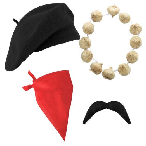 Gli adulti Francese Set Berretto aglio Tash Bandana Costume Bastille Day Costume