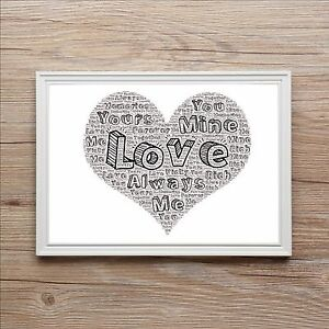 Romantic Love Scribbles Word Art Print Perfect Gift Girlfriend