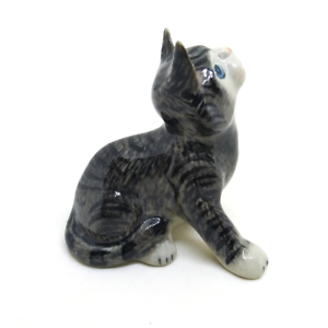 Brown ceramic cat dollhouse figurines porcelain animal vintage Tiny miniature C5