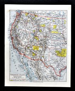1900 Meyers Map Western United States California Texas Oregon ...