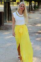 Zara Yellow Long Flowing Summer Maxi Skirt Size S_m
