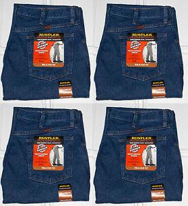 Rustler-By-Wrangler-Men-039-s-Relaxed-Fit-Straight-Leg-Blue-Heavyweight-Denim-Jeans