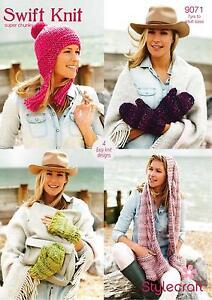 318cb2948 Image is loading Stylecraft-9071-Knitting-Pattern-Ladies-Scarf-Mittens-Hat-