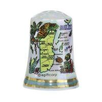 Belize Central America Map Pearl Souvenir Collectible Thimble Agc Free Shipping