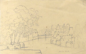 Set of Three Early 20th Century Graphite Drawings - Continental Scenes