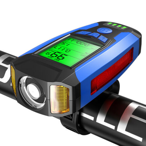 USB Rechargeable LED Bicycle Headlight Bike Front Rear Light w// Horn Speedometer