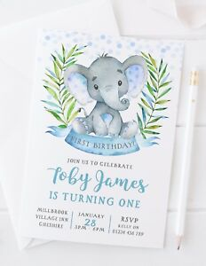 Image Is Loading 10 Personalised Boys First Birthday Invitations Cute Elephant