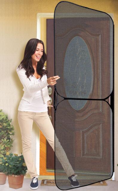 """Instant Screen Door 36"""" Opening Black Universal Quick Standard Metal Frame Front"""
