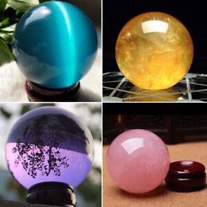 40MM-Natural-Quartz-Magic-Gemstone-Sphere-Crystal-Reiki-Healing-Ball-Stone-Lot