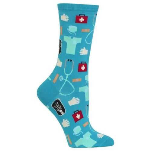 Medical Hot Sox Women/'s Crew Socks Turquoise New Colorful Novelty Health Fashion