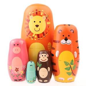 5pcs-Animal-Design-Russian-Doll-Matryoshka-Wooden-Hand-Painted-Child-Kids-Gift