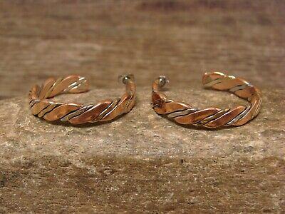 Navajo Indian Jewelry Handmade Stamped Copper Hoop Earrings!