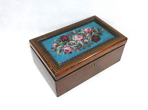 Woodenware Decorative Arts Large Wooden Box With Glass Beading France/switzerland Around 1860