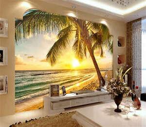 Image Is Loading Vivid Beach Sunrise Full Wall Mural Photo Wallpaper