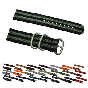 2 Piece Heavy Duty Ballistic Diver Solid/Stripe Nylon SS Watch Strap