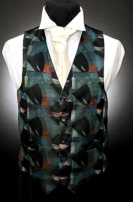 Herrlich W - 527 Abstract Green And Black Mosaic Formal Wedding Waistcoat